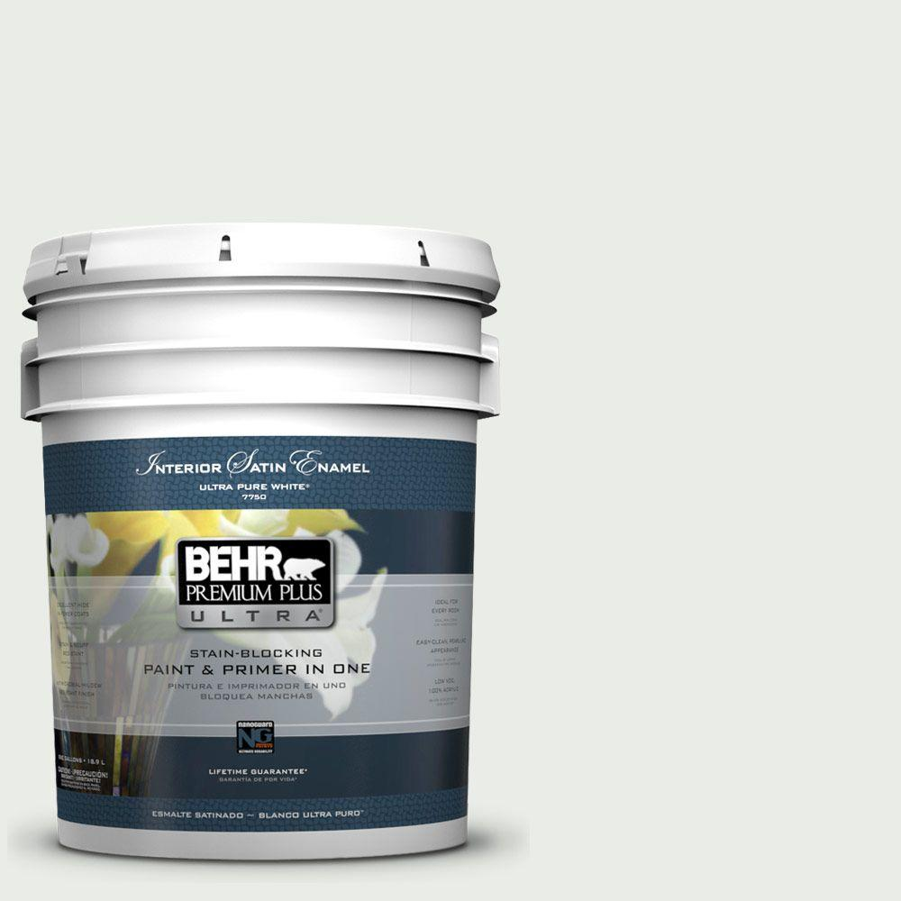 BEHR Premium Plus Ultra 5 gal. #710E-1 Snow Leopard Satin Enamel Interior Paint and Primer in One