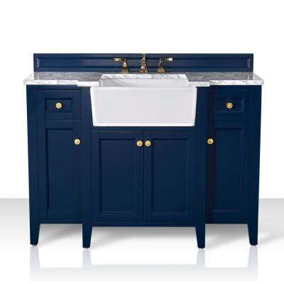 Adeline 48 in. W x 20.1 in. D Bath Vanity in Heritage Blue with Marble Vanity Top in Carrara White with White Basin
