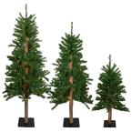 Pre-Lit Alpine Artificial Christmas Trees with Multi-Lights (Set of 3)