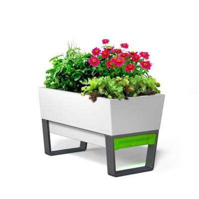 White Plastic Self Watering Planter With Stand