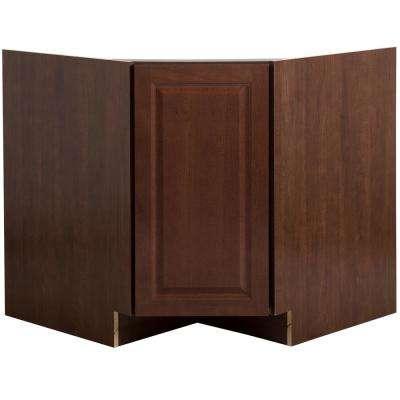 Benton Assembled 36 in. x 34.5 in. x 24.6 in. Corner Sink Base Cabinet in Amber
