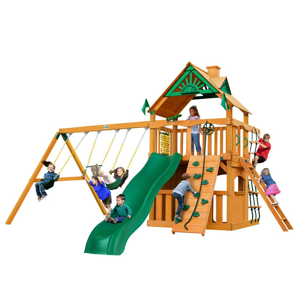 Gorilla Playsets Chateau Clubhouse Wooden Swing Set with Slide and Rock Wall
