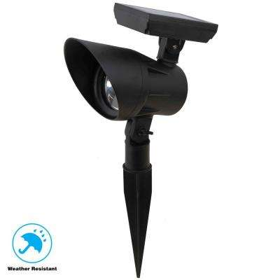 Solar Black Outdoor Integrated LED 3000K Warm White 20 Lumen Landscape Spot Light