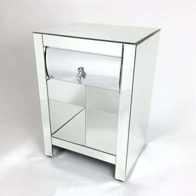 1-Drawer Clear Hot Curved Mirror Chest