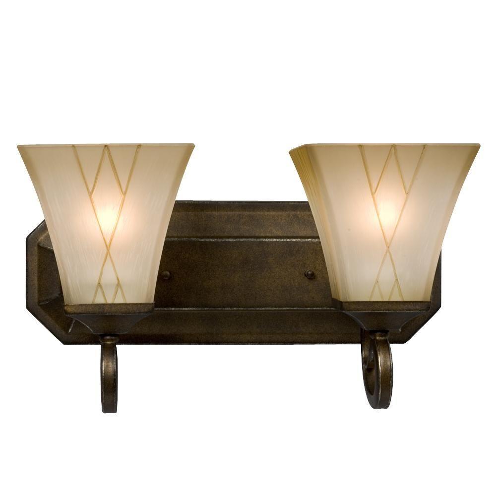 Negron 2-Light Olde World Gold Incandescent Bath Vanity Light