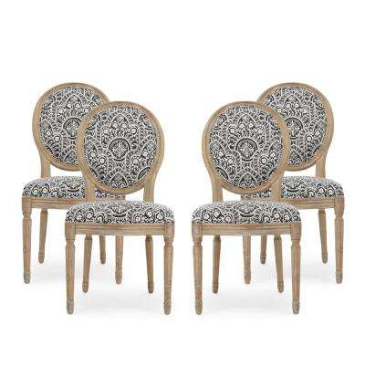 Noble House Phinnaeus Black And White Patterned Fabric Upholstered Dining Chair Set Of 4 82918 The Home Depot