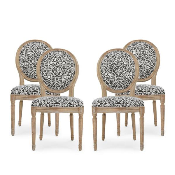 Phinnaeus Black and White Patterned Fabric Upholstered Dining Chair (Set of 4)