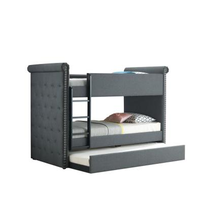 Romana II Gray Fabric Twin/Twin Bunk Bed and Trundle