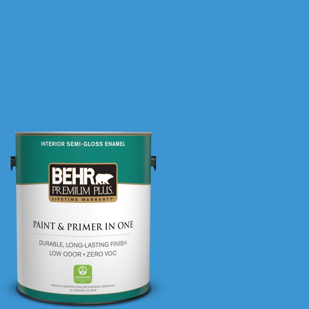 1-gal. #P510-5 Perfect Sky Semi-Gloss Enamel Interior Paint