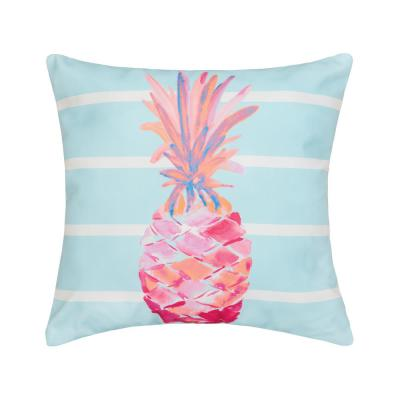 Palm Beach Pineapple Blue Geometric Down Alternative 18 in. x 18 in. Throw Pillow