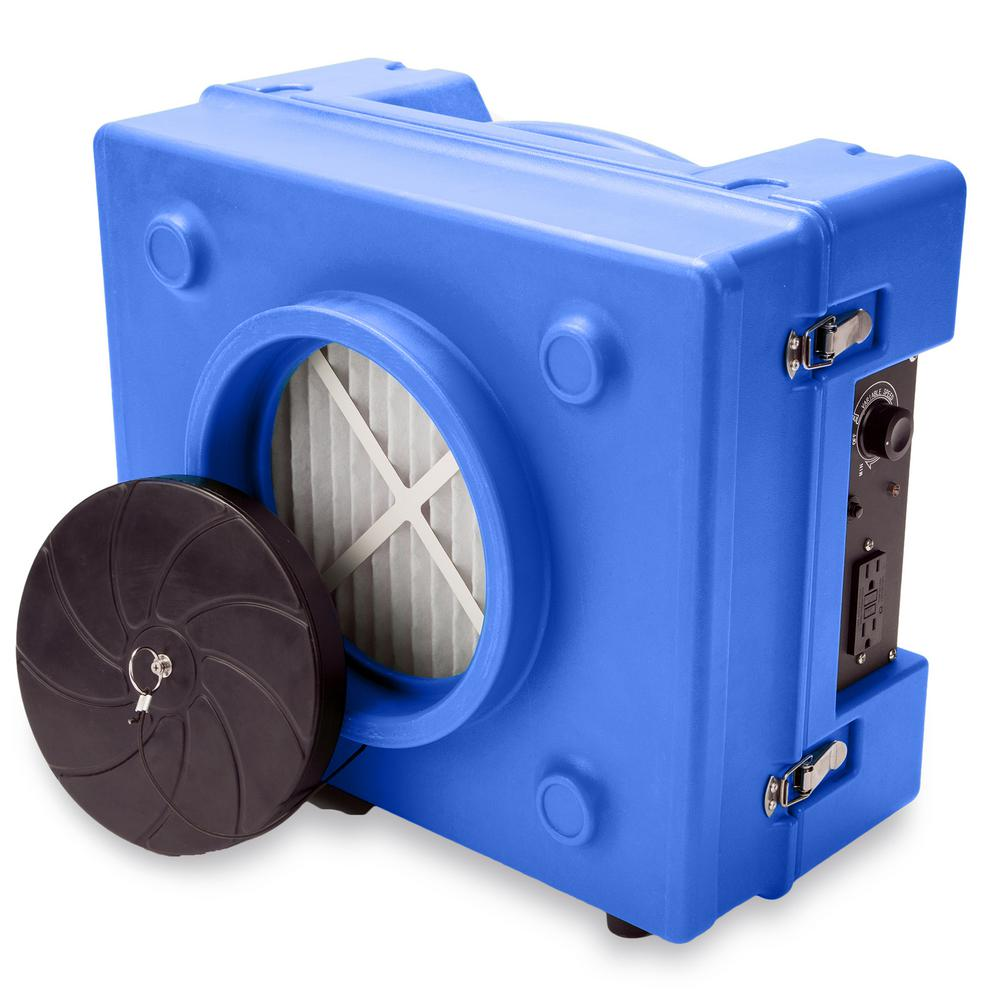 B-Air 1/3 HP 2.5 Amp HEPA Air Scrubber Purifier for Water Damage Restoration Negative Air Machine in Blue