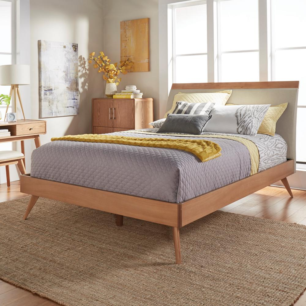 HomeSullivan Holbrook Natural Queen Platform Bed HomeSullivan