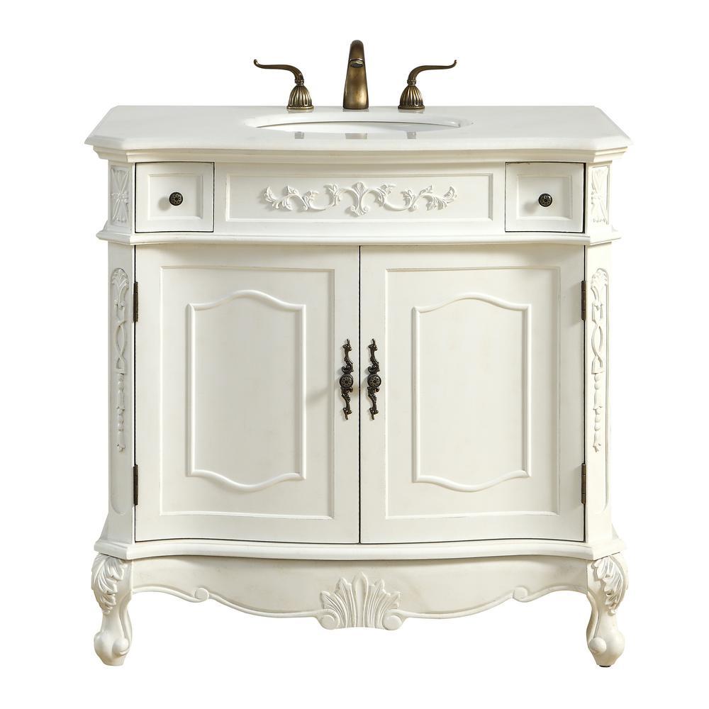 Abbott 36 In Single Bath Vanity W 2 Drawers 1 Shelf Doors Marble Top Antique White