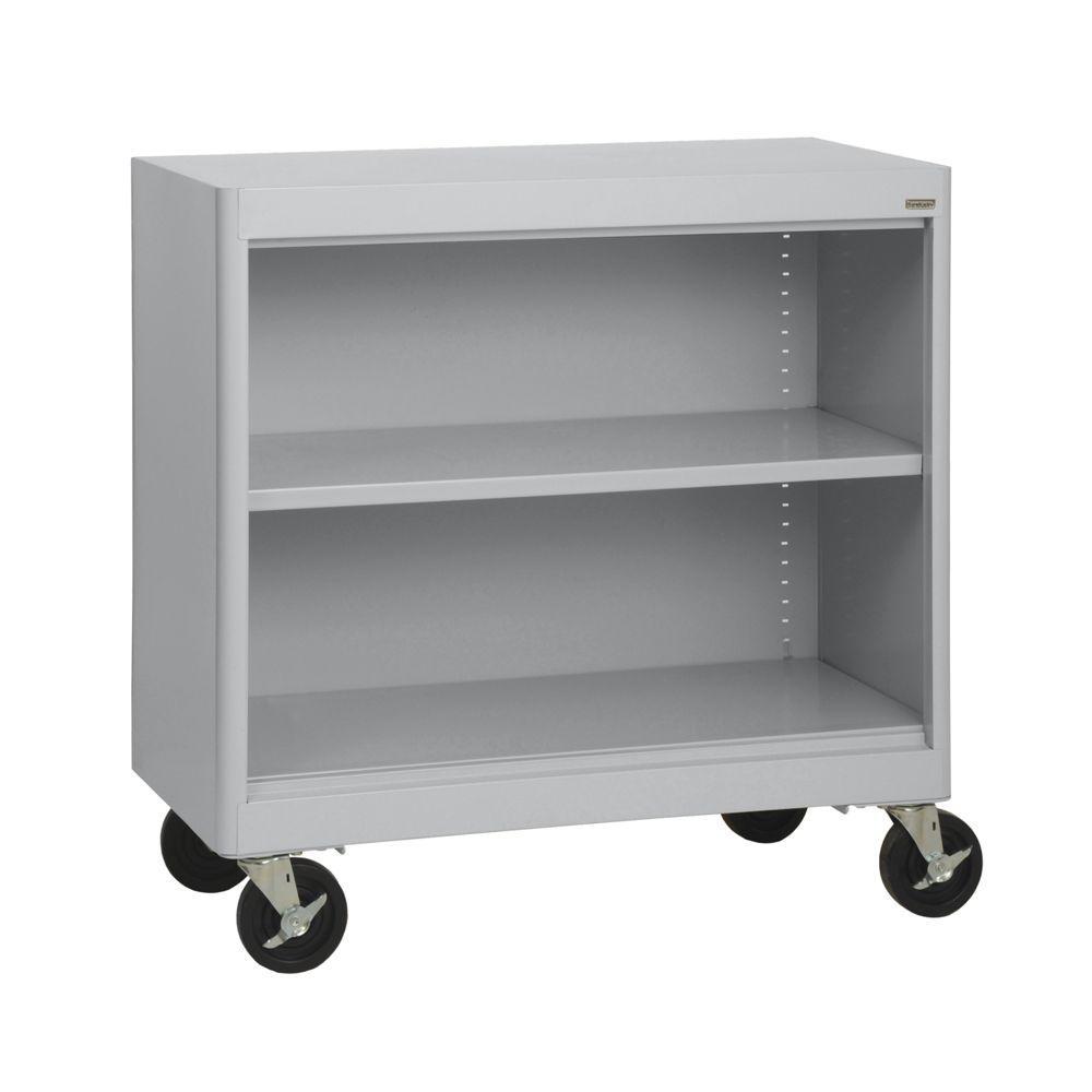 Radius Edge Dove Grey Mobile Steel Bookcase