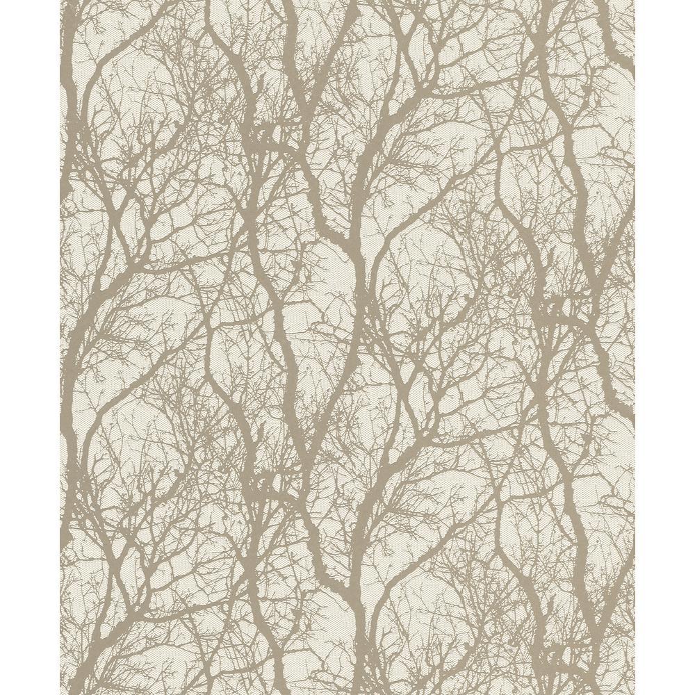 8 in. x 10 in. Wiwen Beige Tree Wallpaper Sample