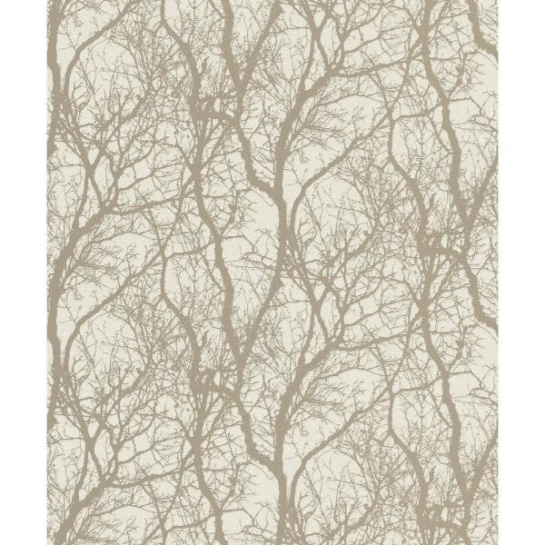 Rasch 8 in. x 10 in. Wiwen Beige Tree Wallpaper Sample