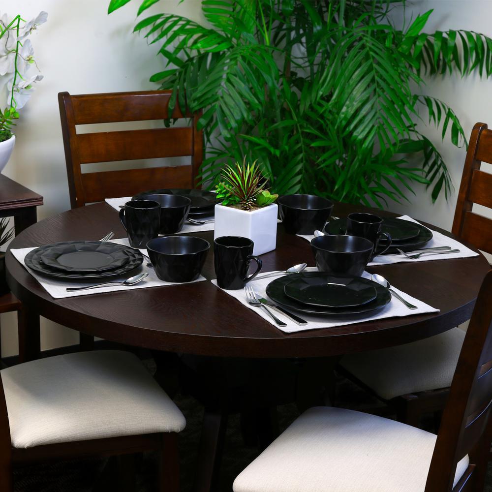 Retro Chic 16-Piece Black Glazed Dinnerware Set