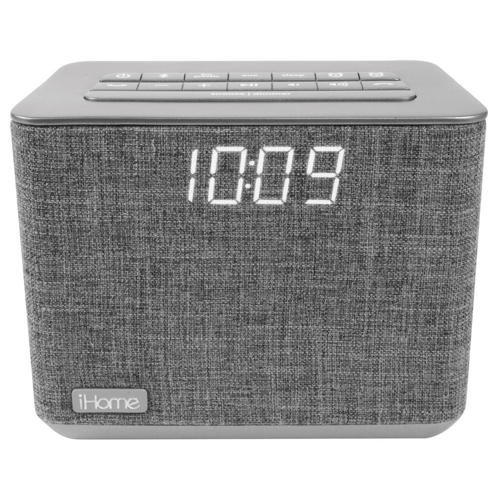 iHome Bluetooth Dual Alarm FM Clock Radio with Speakerphone and USB Charging
