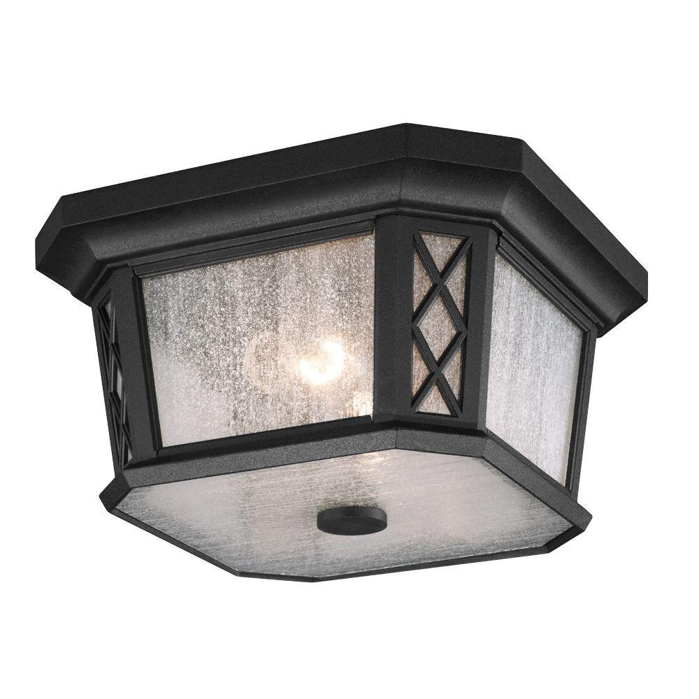 Wembley Park Collection 2-Light Textured Black Outdoor Flushmount