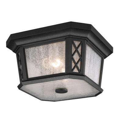 Wembley Park Collection 2-Light Textured Black Outdoor Flushmount