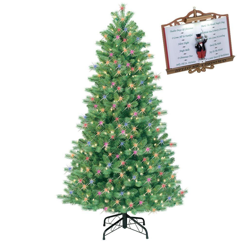 GE 6.5 ft. Pre-Lit Just Cut Bavarian Pine Artificial Christmas Tree with Multi-Color Light