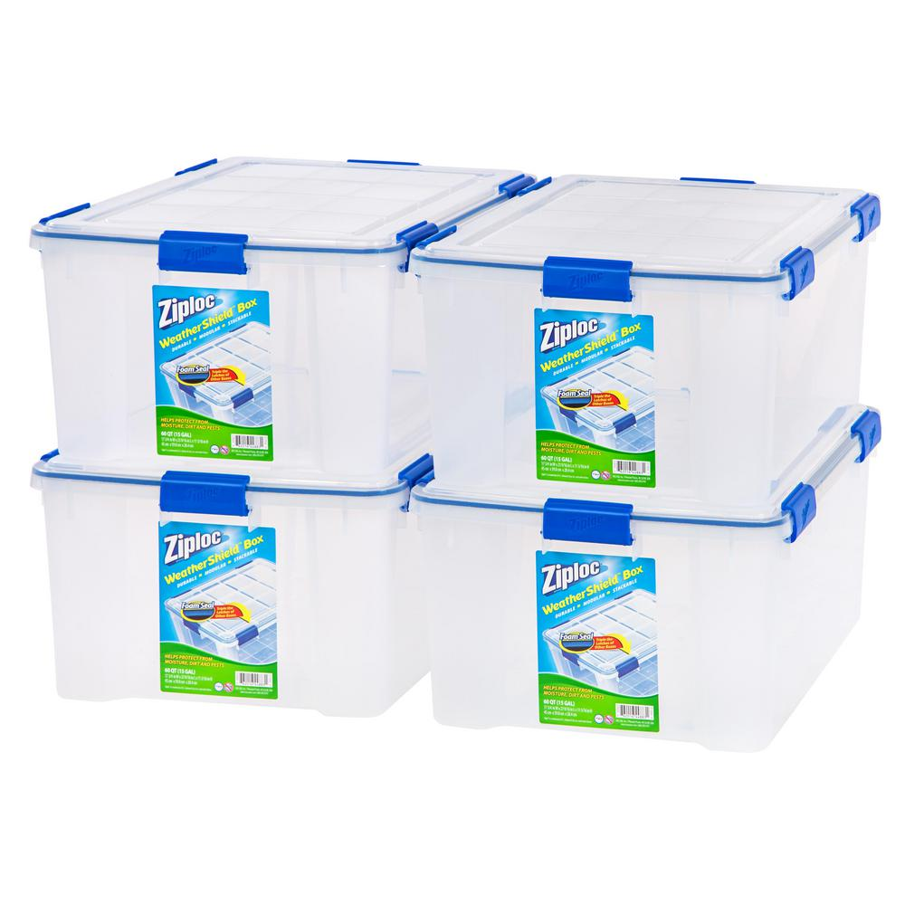 60 Qt. Ziploc Weather Shield Storage Box in Clear (Pack of 4)  sc 1 st  The Home Depot & Storage Bins and Totes - Durable - Clear - Storage Bins u0026 Totes ...