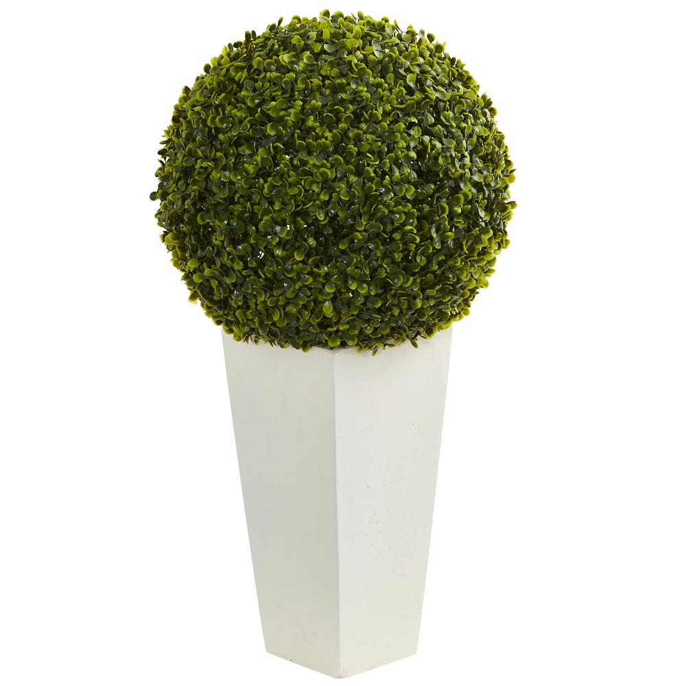 Indoor Outdoor Boxwood Topiary Ball Artificial Plant In White Tower