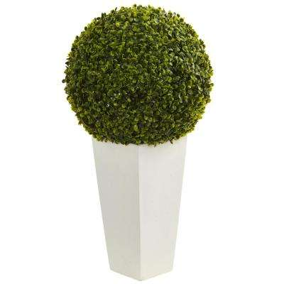 28 in. Indoor/Outdoor Boxwood Topiary Ball Artificial Plant in White Tower Planter