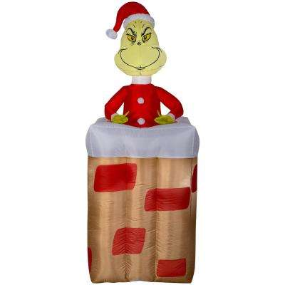 Pre-lit Inflatable Animated Grinch Popping Out of Chimney Airblown - The Grinch - Christmas Inflatables - Outdoor Christmas Decorations