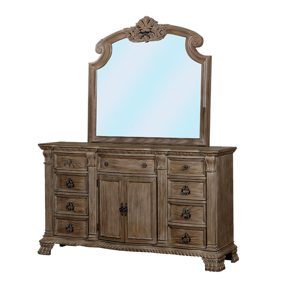 47.25 in. H x 18.5 in. W x 66 in. D Montgomery Rustic Natural Dresser and Mirror Set 9-Drawers