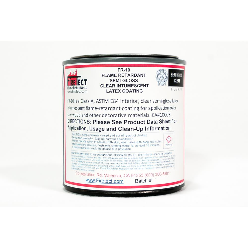 Firetect FR-10 8 oz. Clear Semi-Gloss Interior Intumescent Fireproofing Flame Retardant Coating Sample for Wood
