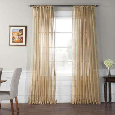 Doublewide Solid Soft Tan Voile Polyester Panel - 100 in. W x 96 in. L