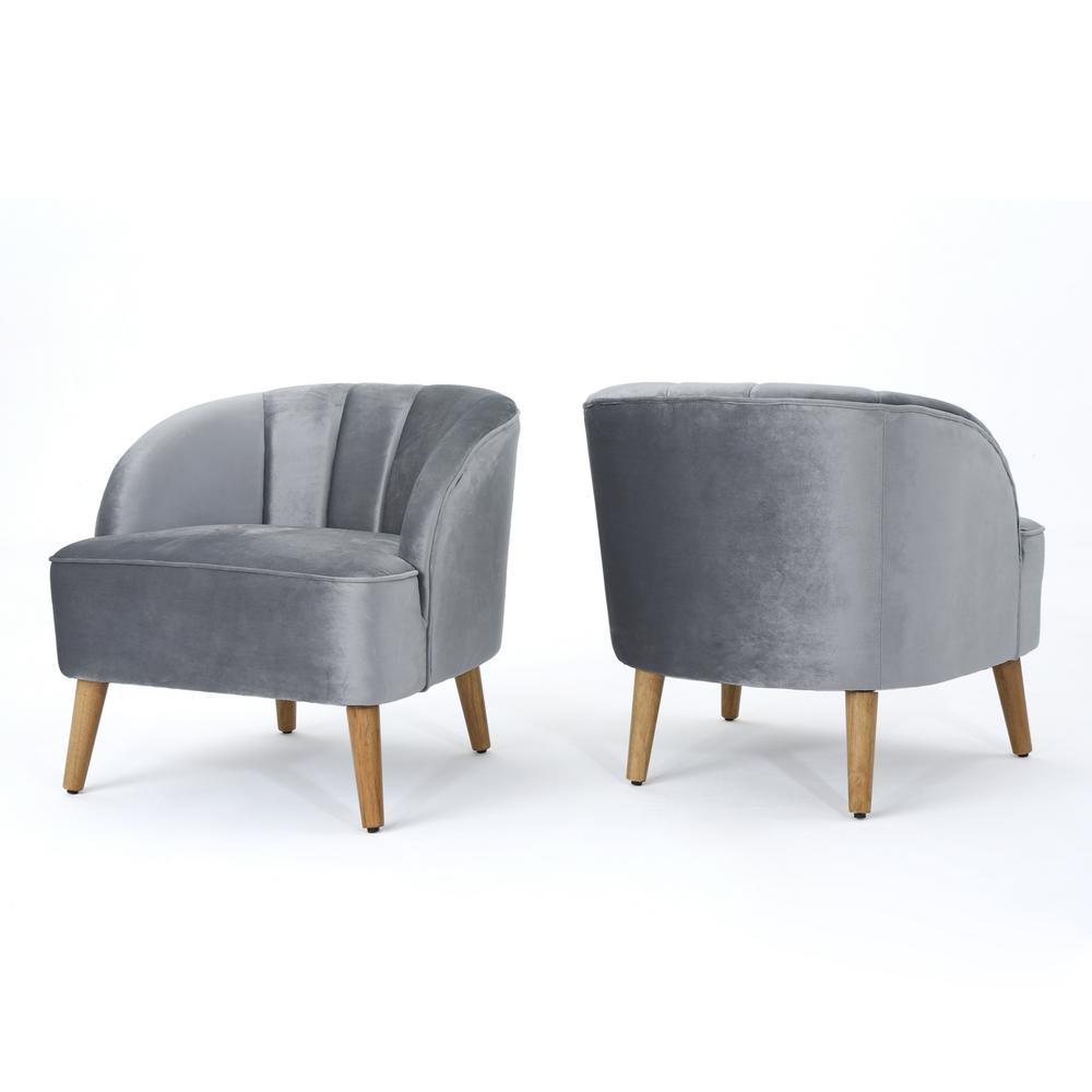 Amaia Pewter Velvet Upholstered Club Chair (Set of 2)