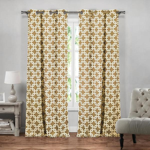 Kristin 84 in. L x 37 in. W Polyester Blackout Curtain Panel in Wheat (2-Pack)