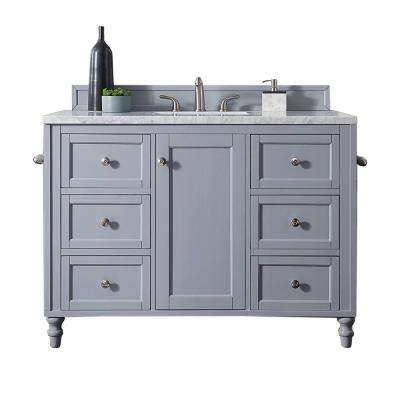 Copper Cove Encore 48 in. W Single Vanity in Silver Gray with Marble Vanity Top in Carrara White with White Basin