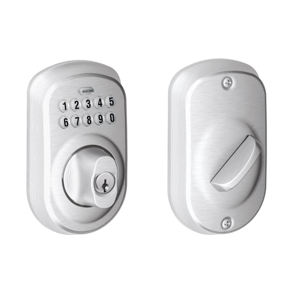 Four Digit Keypad Operated Switch Schlage Plymouth Satin Chrome Electronic Deadbolt Be365 Ply