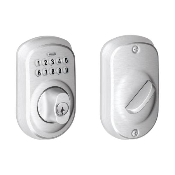 Plymouth Satin Chrome Keypad Electronic Door Lock Deadbolt