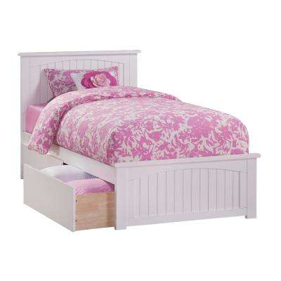 Nantucket White Twin Platform Bed with Matching Foot Board and 2 Urban Bed Drawers