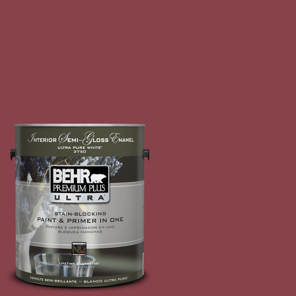 BEHR Premium Plus Ultra 1-gal. #UL100-9 Bolero Interior Semi-Gloss Enamel Paint-DISCONTINUED