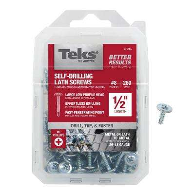 #8 x 1/2 in. Phillips Zinc-Plated Steel Truss-Head Drill Point Lath Screws (260-Pack)