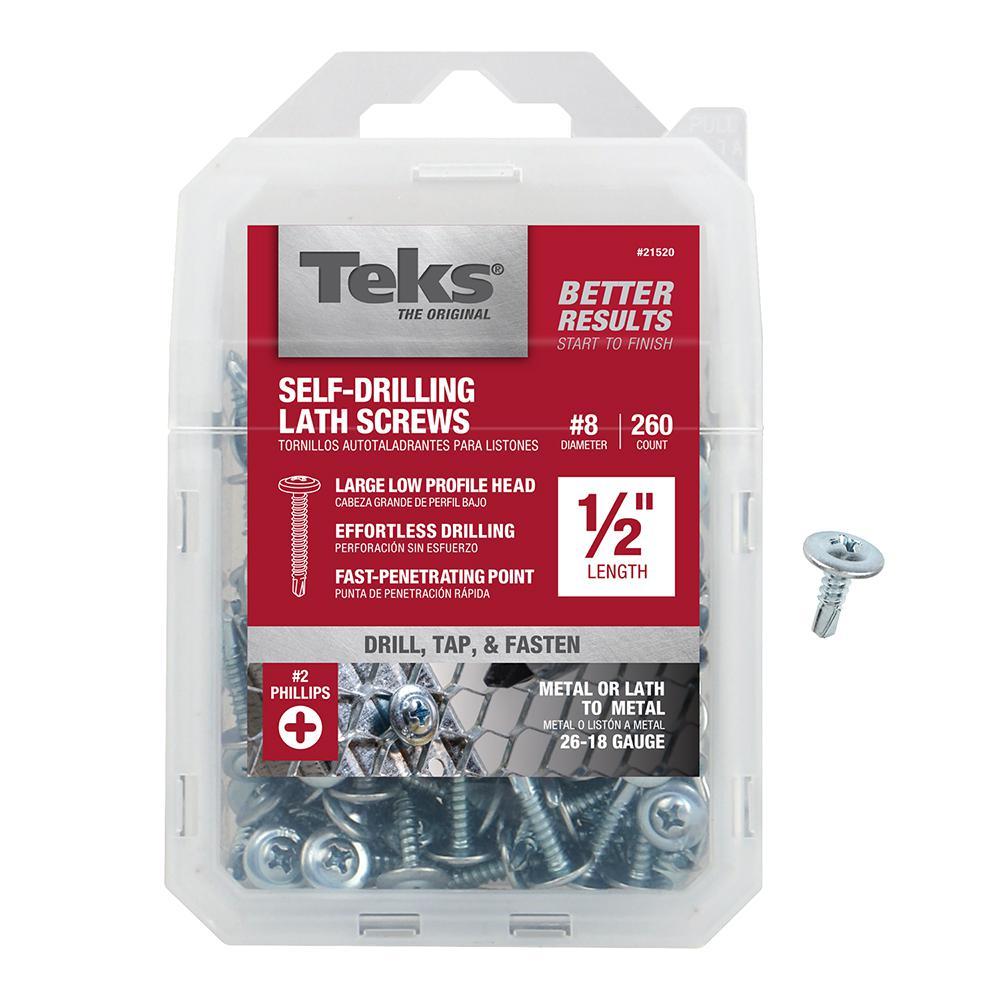 #8 x 1/2 in. Zinc-Plated Steel Phillips Truss-Head Drill Point Lath Screws (260-Pack)