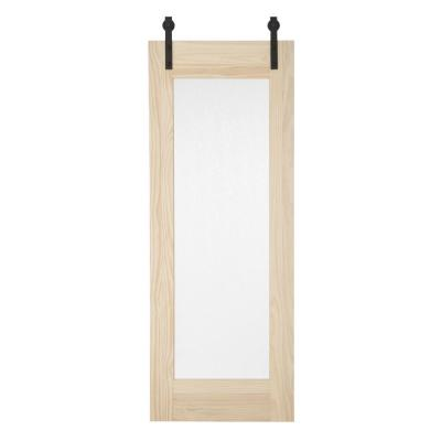 34 in. x 84 in. Timber Hill Rain Glass and Unfinished Pine Wood Sliding Barn Door Slab with Hardware Kit