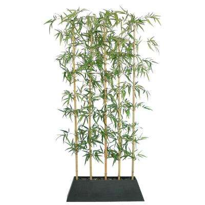 8 ft. Tall Silk Bamboo Tree Screen with Contemporary Wood Planter