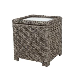 Hampton Bay Laguna Point Square Wicker Outdoor Accent Table with Captured Glass Top by Hampton Bay