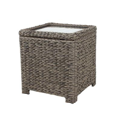 Laguna Point Square Wicker Outdoor Patio Accent Table with Captured Glass Top
