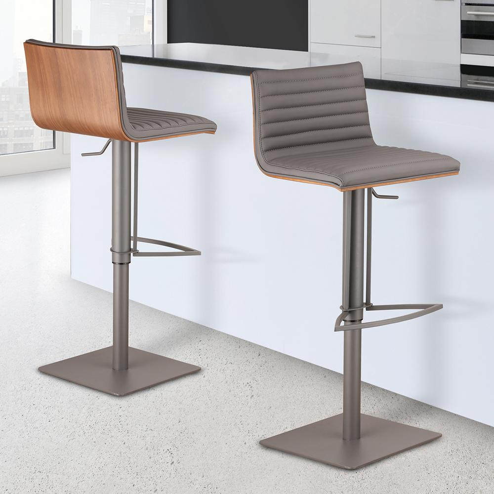 Armen Living Cafe 31 41 In. Gray Faux Leather With Gray Metal Finish Finish