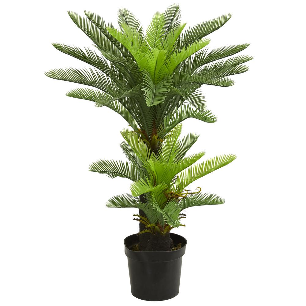 Nearly Natural Indoor 4.5 ft. Double Potted Cycas Artificial Tree