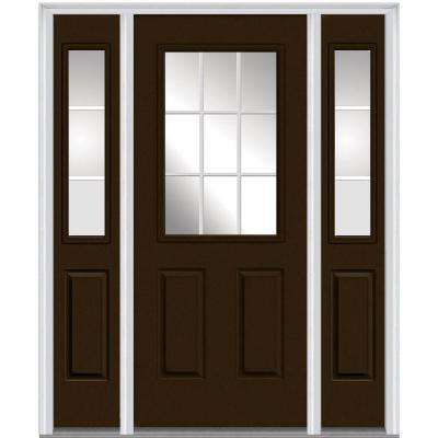 64 in. x 80 in. Internal Grilles Right-Hand 1/2-Lite Clear Painted Fiberglass Smooth Prehung Front Door with Sidelites