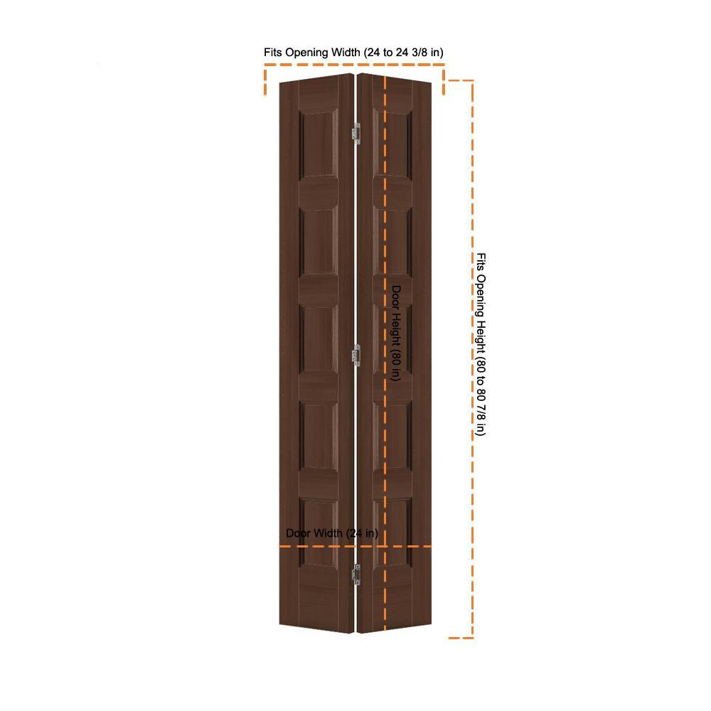 Jeld Wen 24 In X 80 In Conmore Milk Chocolate Stain Smooth Hollow Core Molded Composite Interior Closet Bi Fold Door