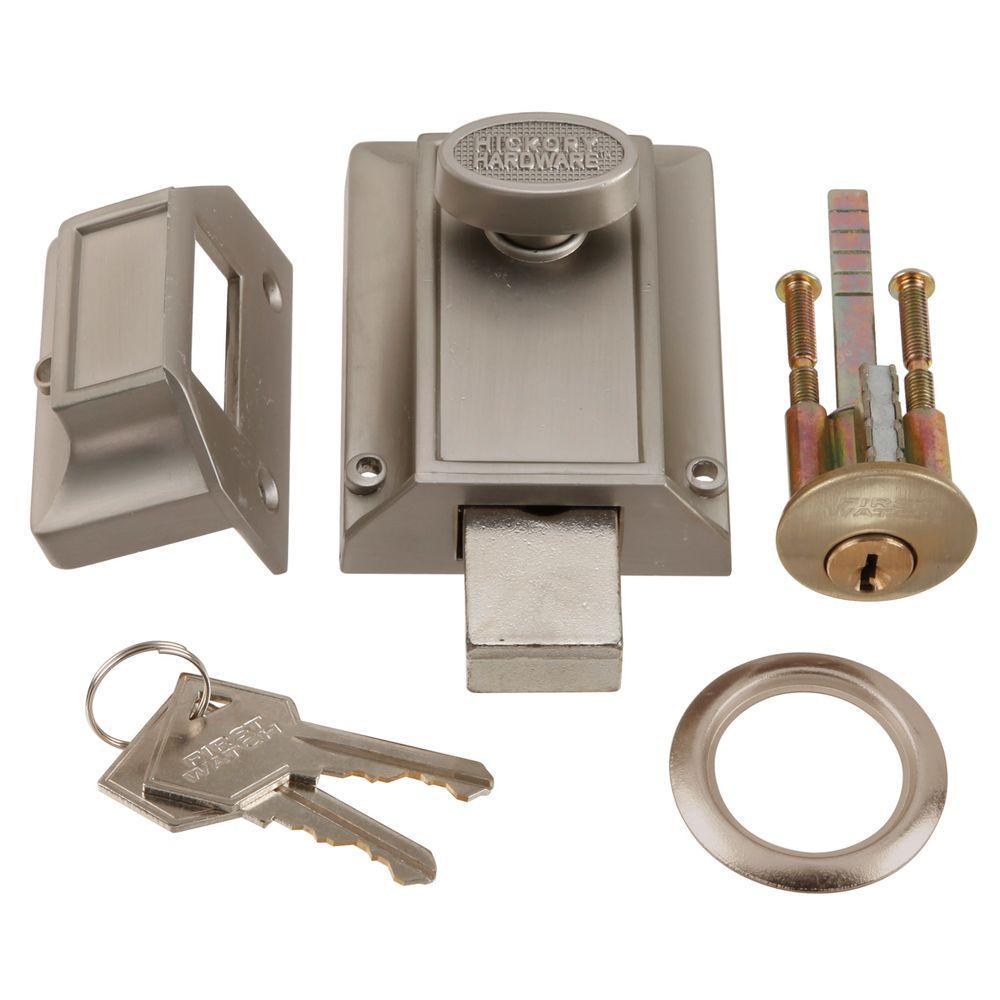 First Watch Security Satin Nickel Door Night Bolt and Locking Cylinder